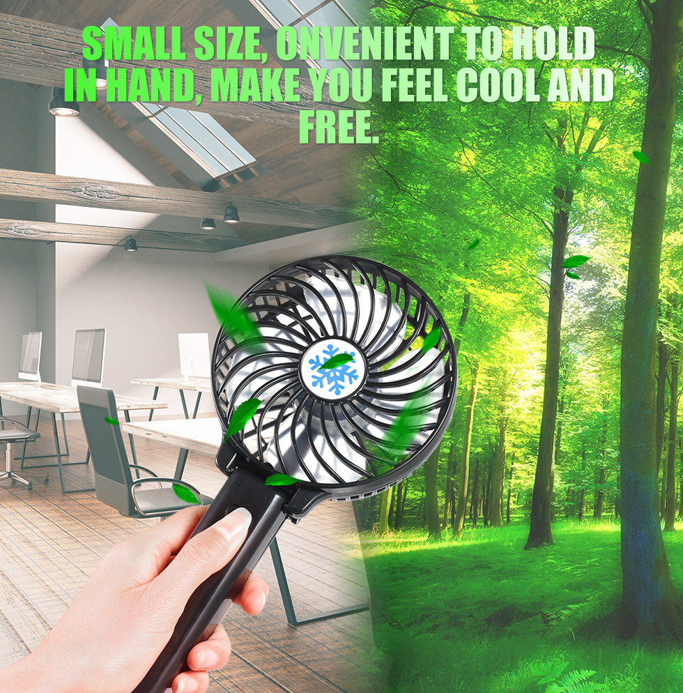 Portable Mini Fan USB Air Conditioner Fans HandHeld Ventilation Air Cooler 3 Speed Modes For Home Office Travel Without Battery
