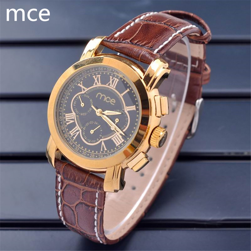 MCE Luxury watch Men 6 Hands Date day Golden Case Brown Leather Band Men Mechanical Watches
