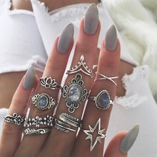 11PCS/SET Fashion Rings Wedding Ring Set for Women Crystal Finger Jewelry Knuckles Men Party Bague Femme Anillos Brincos 2019