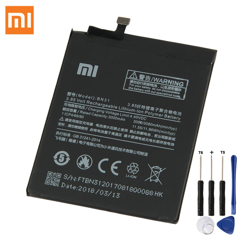 <font><b>XiaoMi</b></font> Original Replacement <font><b>Battery</b></font> BN31 For <font><b>Xiaomi</b></font> Mi 5X Mi5X A1 <font><b>MiA1</b></font> Redmi Note 5A 100% New Authentic Phone <font><b>Battery</b></font> 3080mAh image