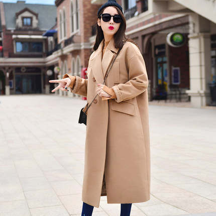 f92c11eb3f6fa placeholder X-long Oversized Coat With Pad Lining Warm Thick Casual  Overcoat New Women s Camel Wool