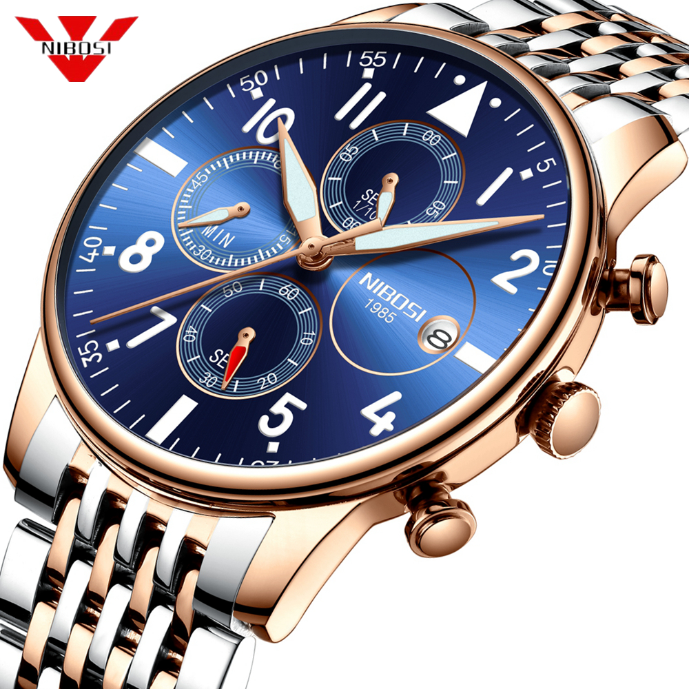 Mens Watches NIBOSI Waterproof Quartz Business Men Watch Top Brand Luxury Clock Casual Military Sport Watch Relogio Masculino