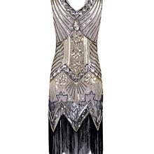 d1511bec Selegere 50pcs/lot Women 1920s Gastby Sequin Art Nouveau Embellished  Fringed Flapper Dress(China