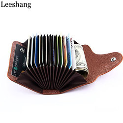 Leeshang card wallet leather business credit id card holder case cash purse travel for men women.jpg 250x250