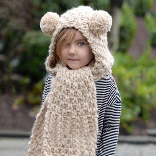 Infant Toddler 2017 Winter Beanie Baby Kids Boy Girl Warm Hat Hooded Scarf  Earflap Cute Bear Ears Knitted Wool Caps 6354e285bb71