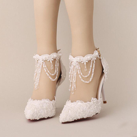 New Summer White Pearl Crystal Lace Bridal Shoes Beautiful Ankle Strap Wedding Shoes White And Red Color Pointed Toe Prom Shoes