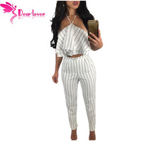 Dear Lover Women Pant Suits 2 Piece Autumn 2016 Striped Hollow Out Split Long Sleeve V