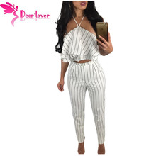 Dear Lover Women Pant Suits 2 Piece Summer Style 2017 Hollow Out Split White Striped Ruffle Halter Crop Top and Pant Set LC62021(China)