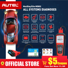 AUTEL MaxiDiag Elite MD802 All system DS model Car OBD2 Scanner Full System Diagnoses ABS SRS Engine Transmission EPB Oil Reset