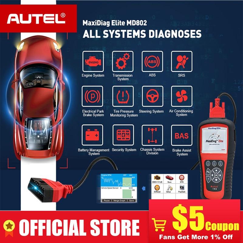 AUTEL MaxiDiag Elite MD802 모든 시스템 DS 모델 자동차 OBD2 스캐너 전체 시스템 진단 ABS SRS 엔진 전송 EPB 오일 리셋maxidiag elite md802 fullmaxidiag elite md802maxidiag elite -
