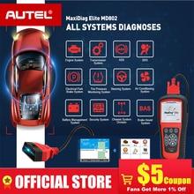 AUTEL MaxiDiag Elite MD802 cały system DS model samochodu skaner OBD2 pełny układ diagnozuje ABS SRS skrzynia biegów silnika EPB Reset oleju