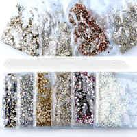 40 farben Mischen Größen Kristall Klar AB Nicht Hotfix Flatback Strass Nail art Strass Für 3D Nagel Kunst Dekoration glitter