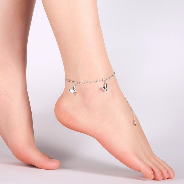 2017 Hot S Silver Color Erfly Charm Anklet Bracelet Fashion Woman Foot Jewelry Wife Gift Tornozeleira