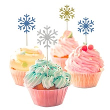 10/20/40pcs Cute Snow Cake Cupcake Topper Flags Happy Birthday Decoration Wedding Xmas Party Dessert Supplies Baking Accessories