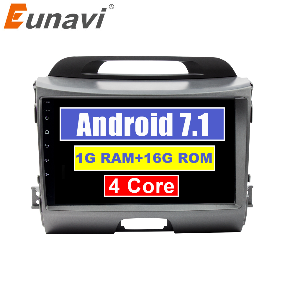 Eunavi 2 din 9'' Android 7.1 Quad core car gps stereo radio player for KIA sportage 2011 2012 2013 2014 2015 head unit wifi usb