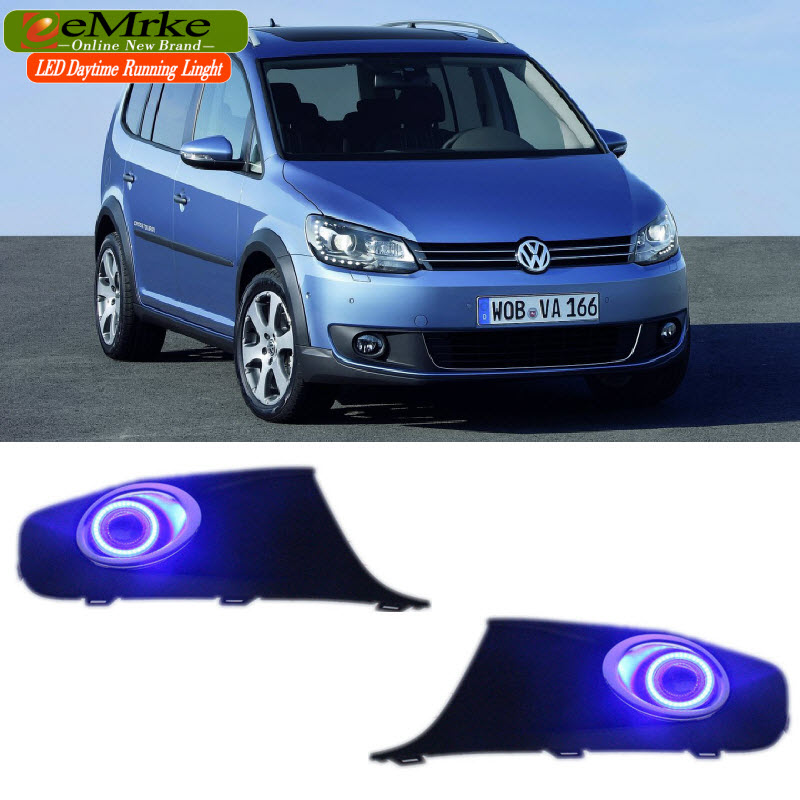 eeMrke Car Styling Daytime Running Lights For VW Touran 2010-2015 LED Angel Eyes DRL Halogen Bulbs H11 55W Fog Lamp Kits for lexus rx350 rx450h 2010 2013 car styling led angel eyes drl led fog lights car daytime running light fog lamp with bulbs set
