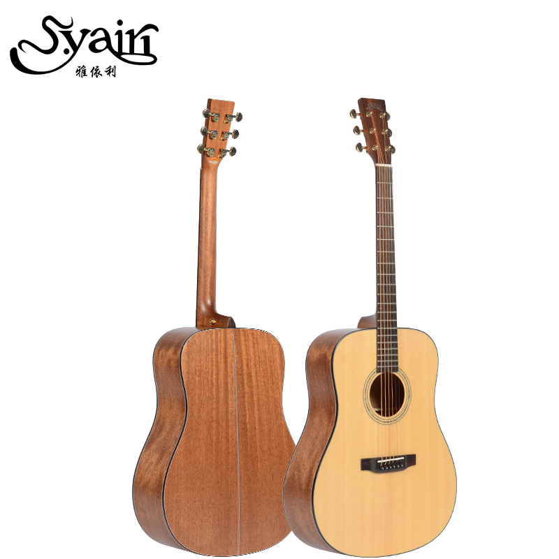 High Quality Solid Spruce Mahogany Top Rosewood Fingerboard Acoustic Guitar 41 Inch Guitarra high quality custom shop lp jazz hollow body electric guitar vibrato system rosewood fingerboard mahogany body guitar