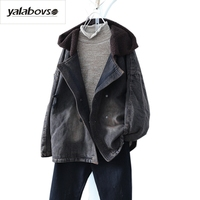 Yalabovso 2018 Newest Spring Autumn Retro Vintage Jacket Female Sherpa Denim Patchwork Thick Warm Coat For