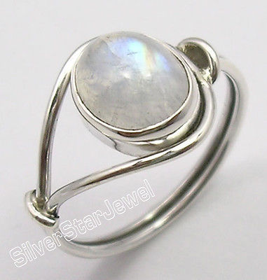Echt Silber Original OVAL REGENBOGEN MONDSTEIN BESTSELLER Ring Jede Größe NEUE Variation