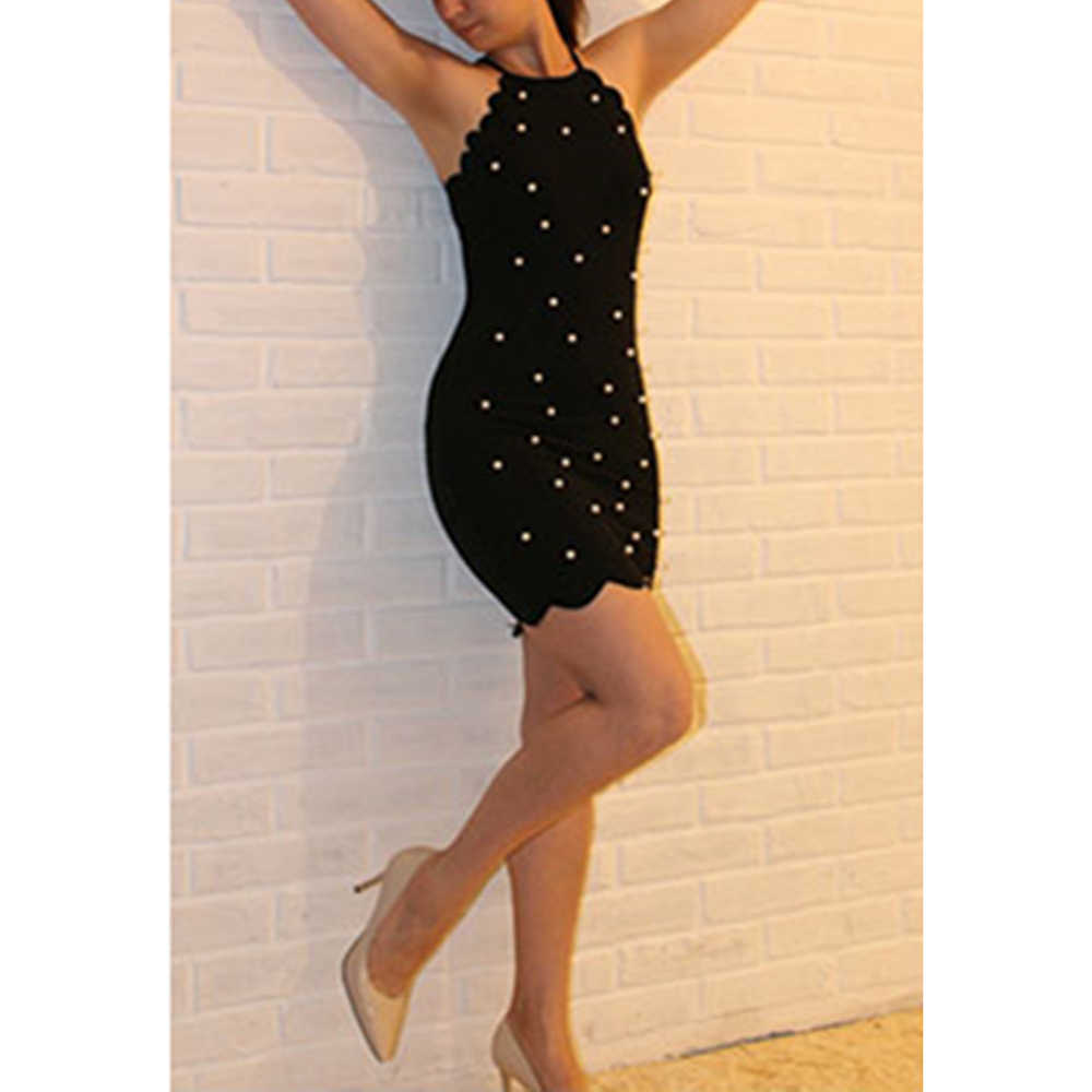 5c31d626c4f ... Pearl Beading Scalloped Halter Dress 2018 New Black Sleeveless Bodycon  Dress Summer Short Zipper Dresses ...