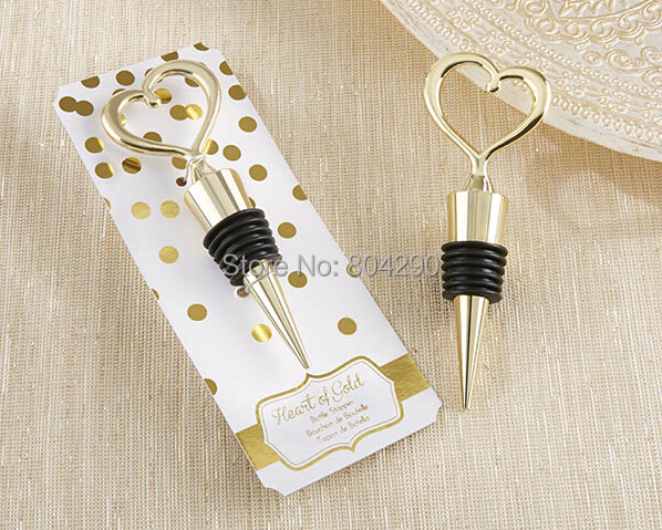 Free Shipping 20 Pcs Latest Wedding Favors Heart Of Gold Bottle Stopper Souvenirs