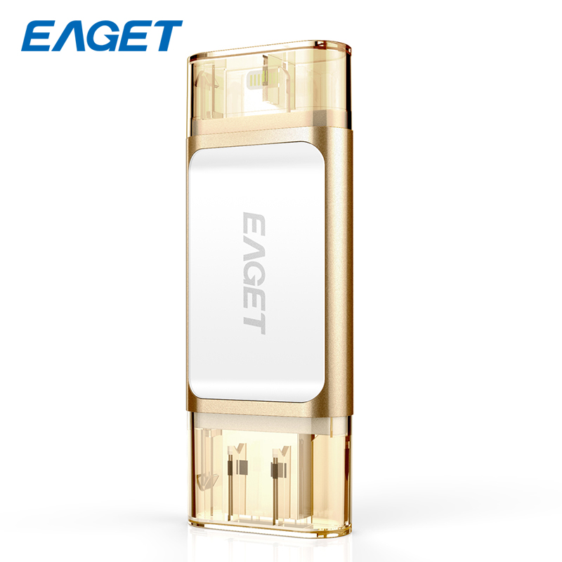 все цены на Eaget 4 Color MFI Metal USB Flash Drive 32GB USB 3.0 Pendrive 64GB External Storage Memory Stick 128GB For Iphone Ipad PC i60 онлайн