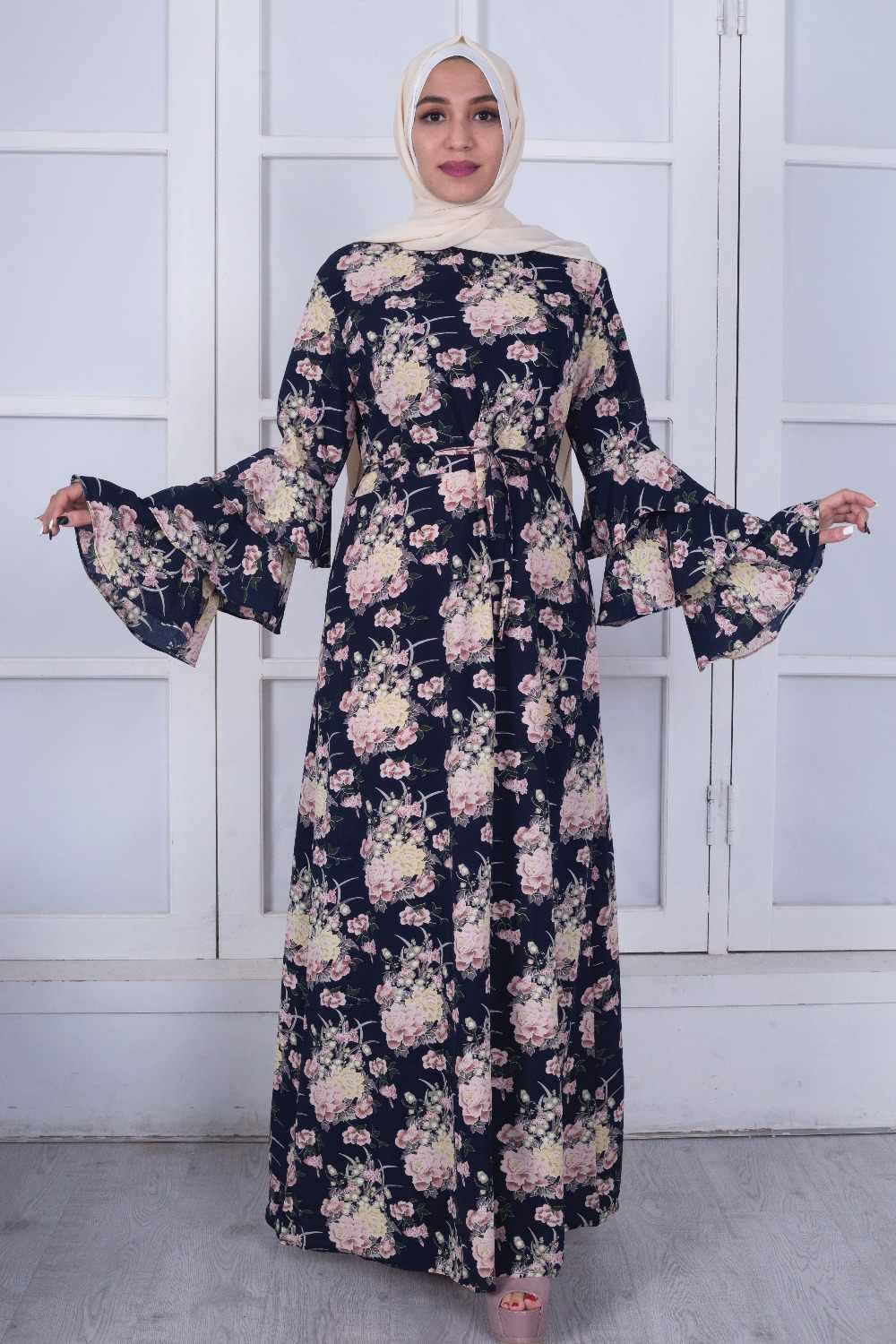 e7a90ae2f2e19 Muslim Print Abaya Flare Sleeve Maxi Dress Long Robes Tunic Kimono Ramadan  Islamic Prayer Clothing Worship Service Wholesale