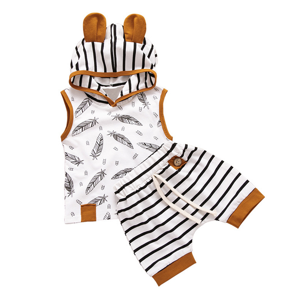 0-24M Boy Girl Newborn Hooded Feather T shirt Tops Striped Shorts Pants Clothes
