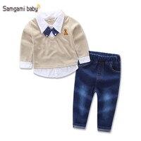 2 stks/set kids knappe jeans kids + gentleman strikje nep tweedelige shirts kleding Lente/Herfst Hoge kwaliteit jongens kleding