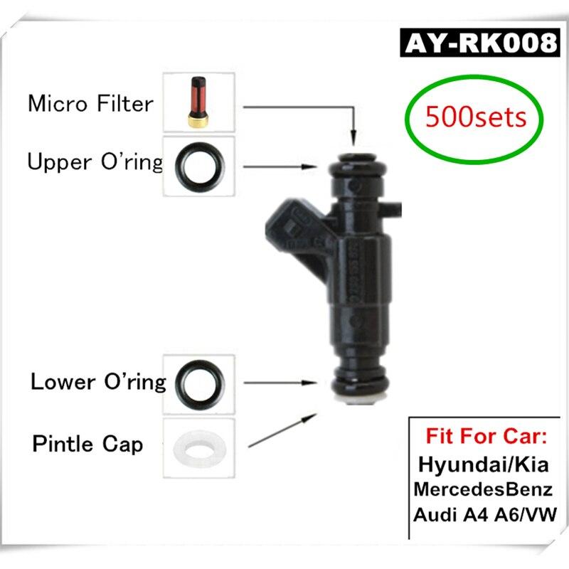 500 Ensembles de Carburant Composants D'injection de Carburant Service De Réparation Kits Filtres Joints Toriques Joints Pour Bosh #0280 Série injecteurs (AY-RK008)