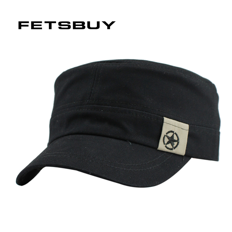 FETSBUY Classic Vintage Flat Top Mens Caps And Hat Adjustable Fitted Cap  Warm Casual Star Military d2cd653bfff9