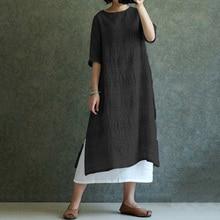 S-5XL ZANZEA Women Vintage Linen Dress 2018 Fashion Casual O Neck Half Sleeve Split Summer Dresses Plaid Baggy Vestido Plus Size
