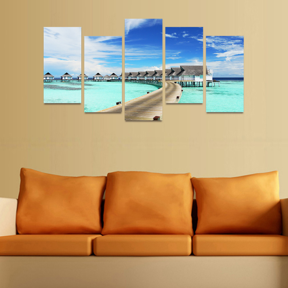 5 Panels Canvas Print Bridge Wood House On Ocean Painting for Living ...