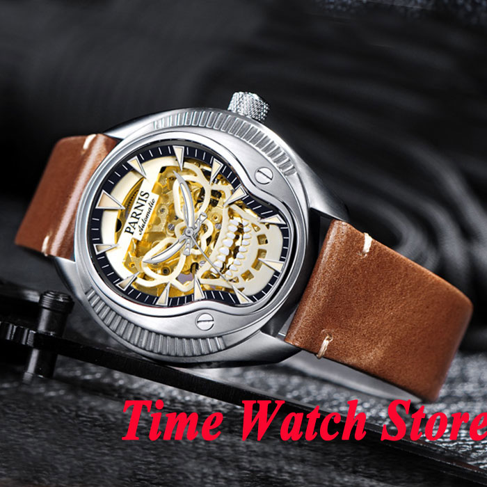 40mm Parnis hollow skeleton dial mens watch 711 sapphire glass MIYOTA movement 40mm parnis white dial vintage automatic movement mens watch p25