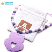 Baby Teether Necklace Silicone Owl Pendant  Baby Safe To Chew Baby Teether Infant Tooth Massage Training for Newborn