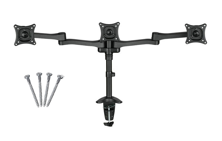13-22 Triple Screen LCD Monitor Holder Desktop Clamping Full Rotation 3 Monitor TV Mount Arm