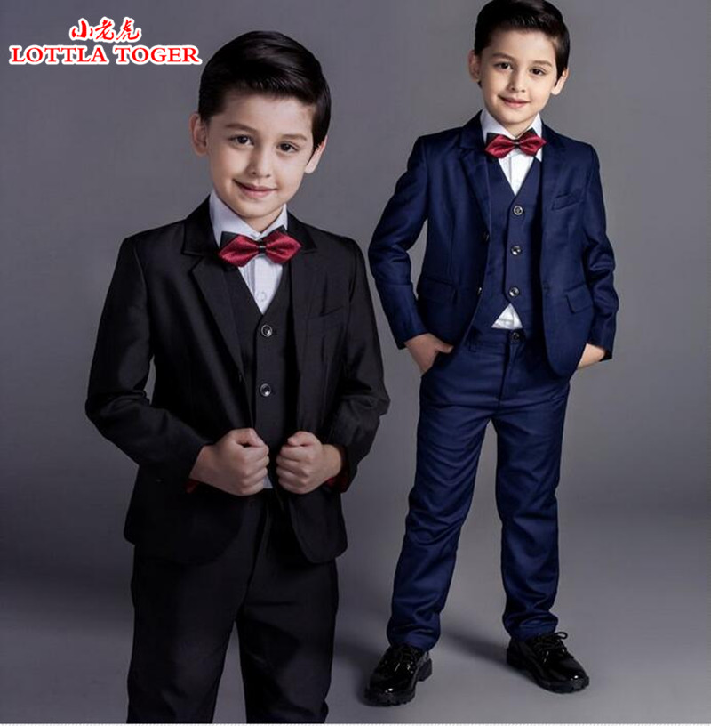 5pcs new arrival fashion baby boys kids blazers boy suit for weddings prom formal black/navy blue dress wedding boy suits цены онлайн
