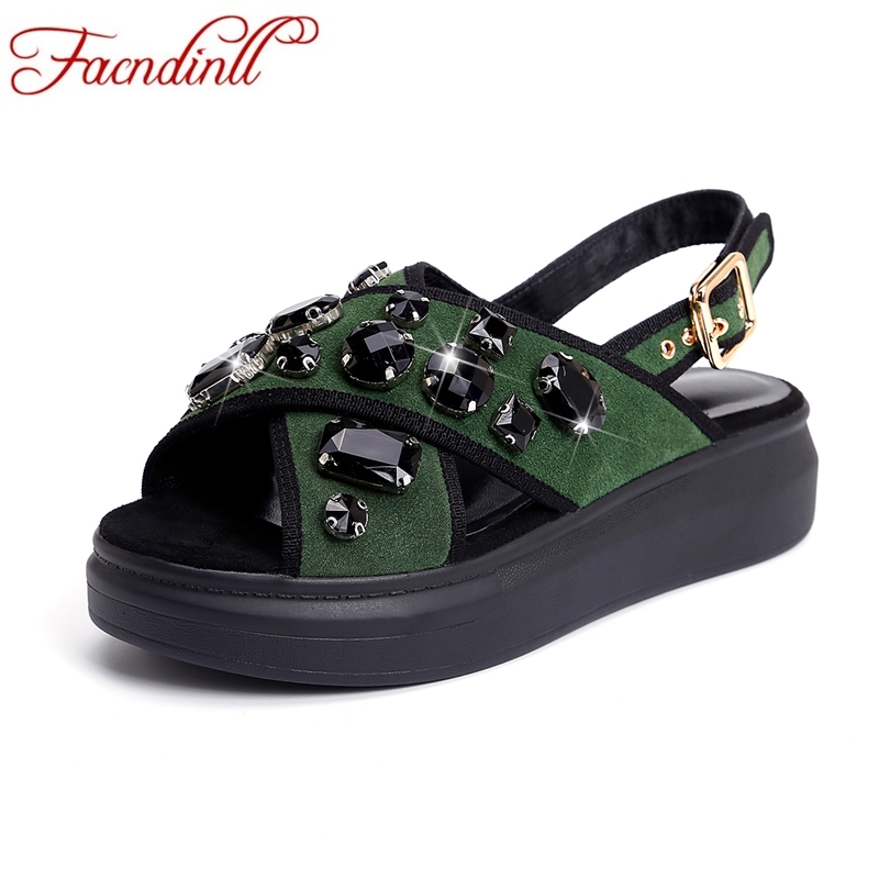 FACNDINLL new fashion rhinestone platform sandals women crystal real leather gladiator sandals big size 33-43 wedges heels shoes