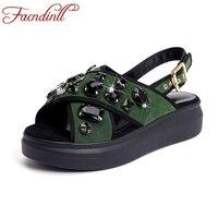 Facndinll новые модные со стразами женские босоножки на платформе со стразами из натуральной кожи сандалии-гладиаторы Большие размеры 33–43 на т...
