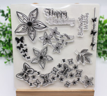Butterfly&flower Clear Stamps/seal For Scrapbooking paper craft card making 2019 NEW birthday word silicone stamp Seal for Decor