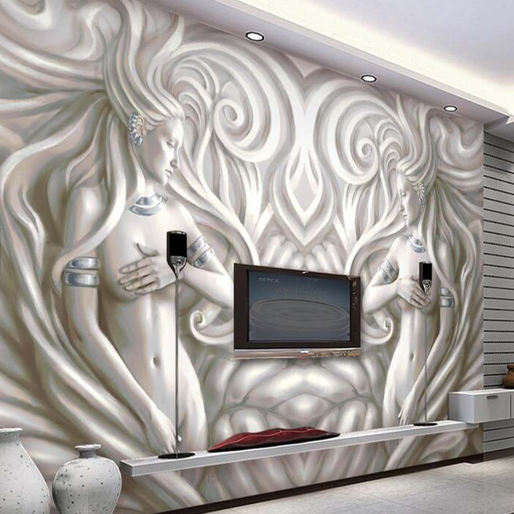 3D European Sculpture Photo Murals Wallpaper for Living Room Bedroom TV Background Wall Art ...
