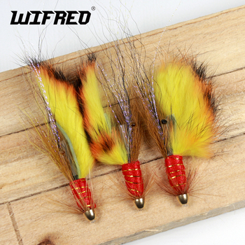 Wifreo 4PCS Conehead Fire Tiger Tail Salmon Tube Flies & Treble Salmon Flies image