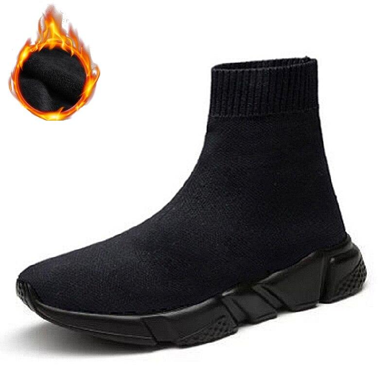FEOZYZ alta zapatos para correr para hombres y mujeres invierno térmico zapatos de los hombres de las mujeres forro de piel Zapatos de deporte grueso tiburón zapatillas de deporte