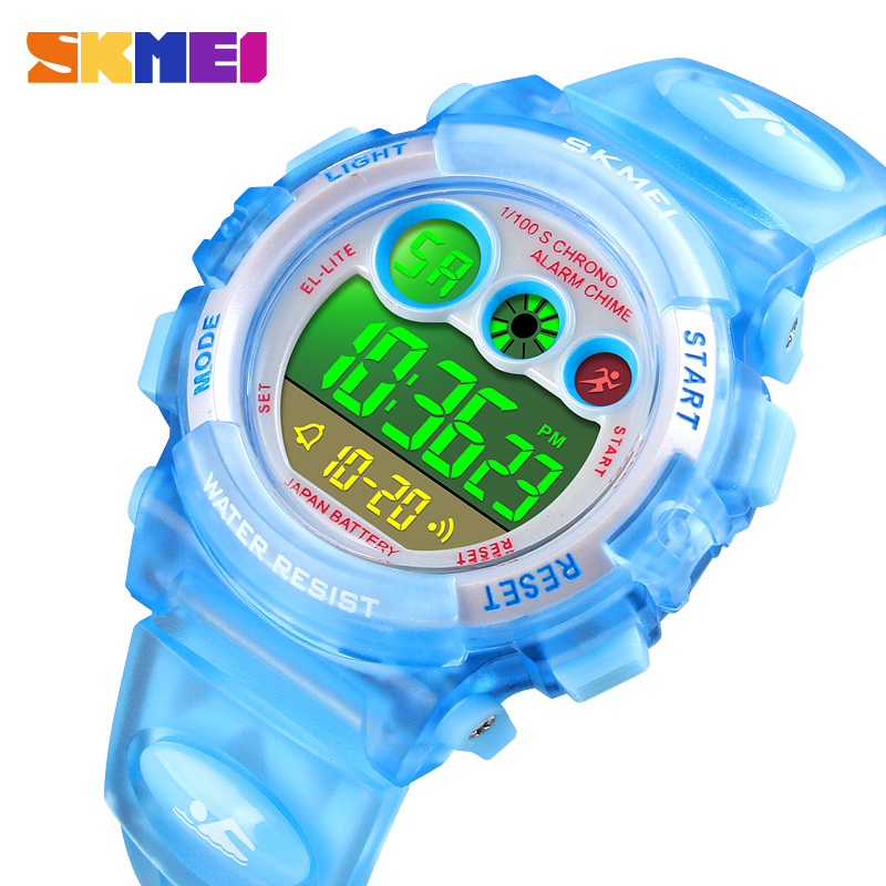 <font><b>SKMEI</b></font> 50M Waterproof Children Watch Boys Girls Led Digital Sports Watches PU Strap Kids Watch Gift Alarm Date Reloj Deportivo image