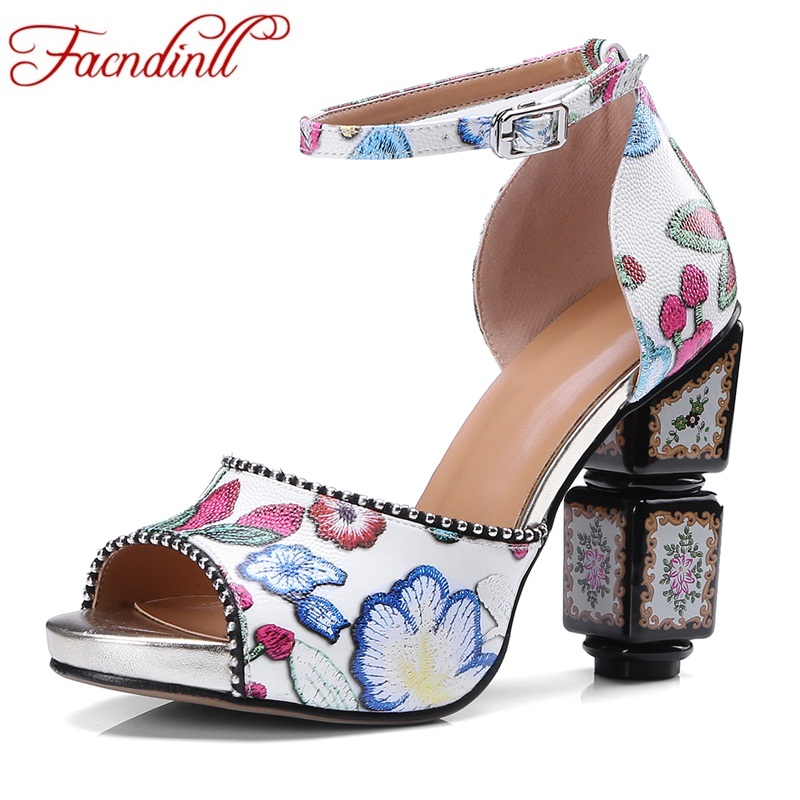 FACNDINLL summer real leather women sandals shoes new sexy high heels peep toe platform shoes woman dress party wedding shoes facndinll summer shoes women sandals