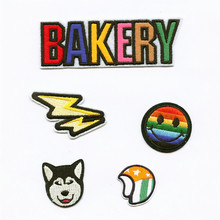 DOUBLEHEE Embroidered Iron On Patches Letters Bakery Lightning Rainbow Smile Helmet Embroidery DIY Coat Shoes Accessories