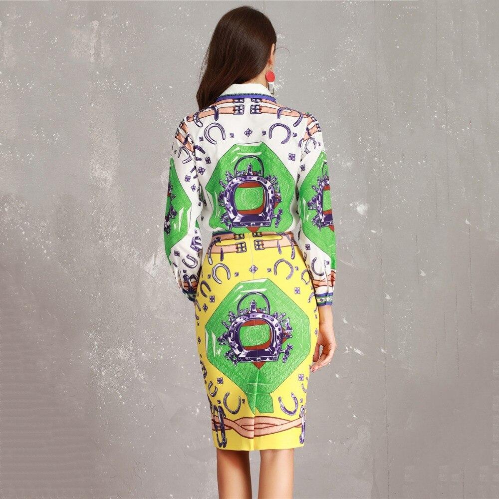Multi Ufficio Della Twinset Donne Lunghe Matita Colorful Abstract Colletto 2019 Bead A Vestito Delle Designer Camicetta Signora Maniche Stampato Di Gonna New Set uJ3K1TlFc