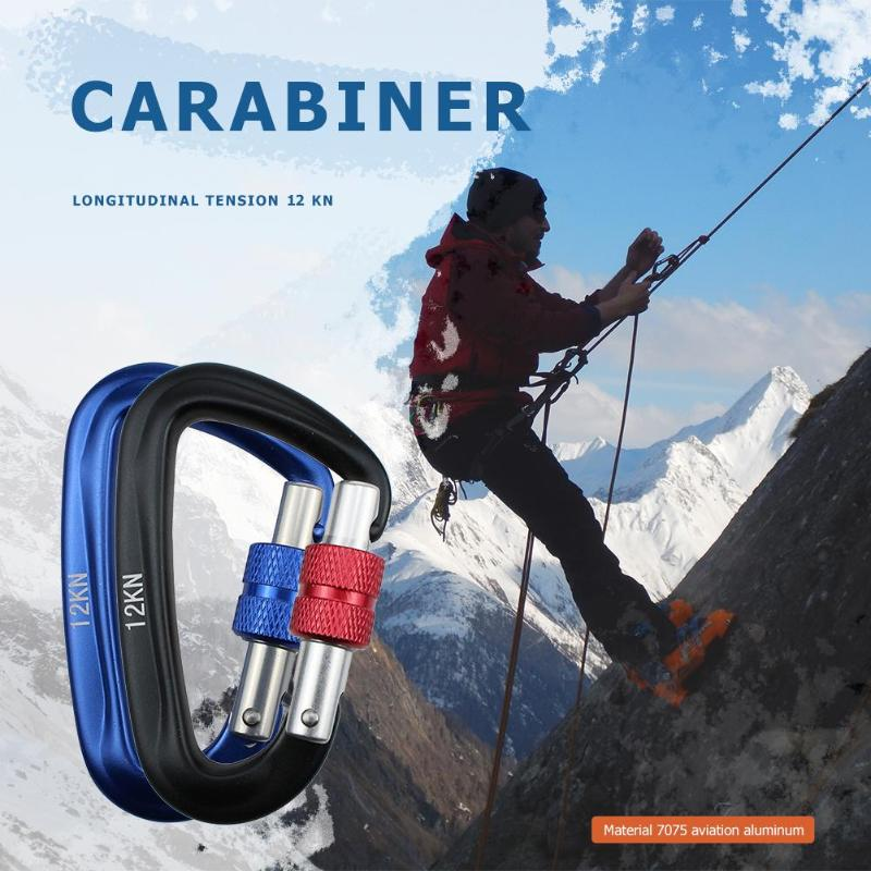 Professional Carabiner D Shape 12KN Rock Climbing Buckle Security Safety Master Lock Mountaineer Outdoor Equipment