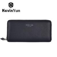 KEVIN YUN Designer Brand Men Wallets Genuine Leather Long Wallet Brand Purse Male Clutch Wallet