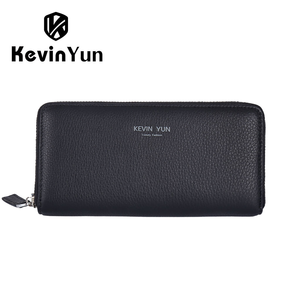 KEVIN YUN Designer Brand Men Wallets Genuine Leather Long Wallet Purse Male Clutch